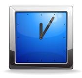 Illustrazione blu quadrata di vettore dell'orologio Fotografia Stock Libera da Diritti