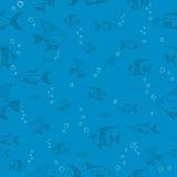 Illustrazione blu senza cuciture di vettore del modello del pesce Fotografie Stock