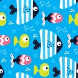 Illustrazione blu senza cuciture di vettore del modello del pesce Immagini Stock