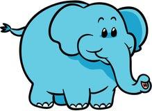 Illustrazione blu sveglia di vettore dell'elefante Immagini Stock