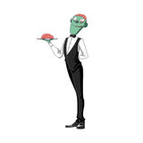 Illustrazione: Brain Waiter Carrying orribile un cervello su un vassoio, su fondo bianco Immagini Stock Libere da Diritti