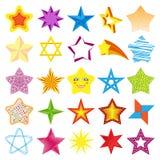 Illustrazione brillante di vettore della raccolta delle icone della stella di stile della siluetta differente di forma Immagini Stock