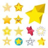 Illustrazione brillante di vettore della raccolta delle icone della stella di stile della siluetta differente di forma Fotografie Stock