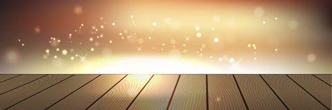 Illustrazione brillante dorata del fondo con le plance Immagini Stock