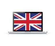 illustrazione britannica del computer portatile del computer della bandiera Fotografia Stock
