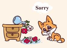 Illustrazione caduta colpevole spiacente del fumetto dei fiori del gattino fotografie stock libere da diritti