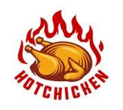 Illustrazione calda di vettore dell'etichetta del fuoco del pollo Fotografie Stock