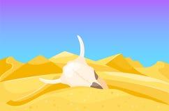 Illustrazione calda di vettore di viaggio di paesaggio della duna del sole di sotto asciutto del fondo del paesaggio della region Immagini Stock Libere da Diritti
