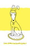 Illustrazione - cane in cappello del coniglio su un fondo giallo Immagine Stock