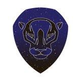 Illustrazione capa di vettore del leone Siluetta di colore del cielo notturno isolata su fondo bianco Mascotte dell'animale selva illustrazione di stock