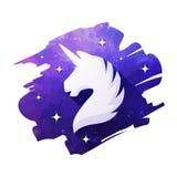 Illustrazione capa di vettore dell'unicorno isolata su bianco Siluetta di un unicorno illustrazione di stock