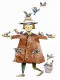 Illustrazione capricciosa dell'acquerello dell'alimentatore dell'uccello Immagine Stock Libera da Diritti