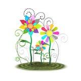 Illustrazione capricciosa sveglia del fondo dei fiori di Toon Fotografie Stock