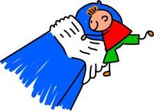 Little Boy che fa il suo letto Immagini Stock