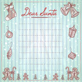 Illustrazione cara di natale di Santa con spazio per testo, la lista di obiettivi, gli elementi di natale e la struttura Immagini Stock