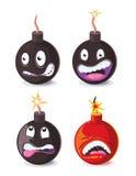 Illustrazione cattiva di vettore di emoji delle bombe del fumetto divertente Fotografie Stock Libere da Diritti