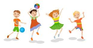 Illustrazione che caratterizza giocando i bambini Fotografia Stock Libera da Diritti