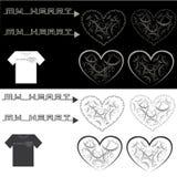 Illustrazione che consiste di parecchie immagini sotto forma di cuore Fotografia Stock