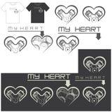 Illustrazione che consiste di parecchie immagini sotto forma di cuore con un motore Immagine Stock Libera da Diritti