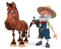 illustrazione che 3d il cavallo sta con l'agricoltore Immagine Stock