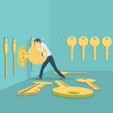 Illustrazione che descrive le chiavi di un raccolto dell'uomo illustrazione di stock