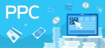 Illustrazione che descrive paga per clic, acquisto, computer portatile, portafoglio illustrazione di stock