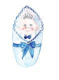 Illustrazione che schizza bambino maschio avvolto in pannolino blu Immagini Stock Libere da Diritti