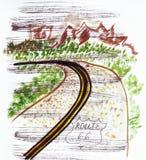 Illustrazione che schizza la strada principale sessantasei del punto di riferimento negli Stati Uniti Immagine Stock Libera da Diritti