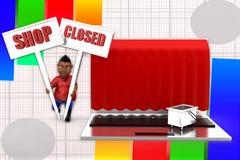 illustrazione chiusa del negozio del computer portatile dell'uomo 3d Fotografie Stock Libere da Diritti