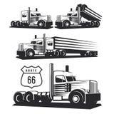 Illustrazione classica del camion pesante isolata su fondo bianco illustrazione di stock