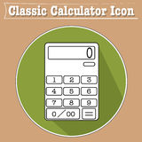 Illustrazione classica dell'icona del calcolatore nella progettazione piana con lo sguardo 3D Ombra, cuscinetto di numero, Fotografie Stock