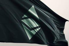 Illustrazione classica della bandiera 3d di cryptocurrency di Ethereum ecc illustrazione di stock