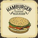 Illustrazione classica di vettore di colore degli alimenti a rapida preparazione dell'hamburger illustrazione di stock