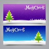 illustrazione Colle di vettore del fondo dell'insegna di Natale 040-Merry Fotografie Stock Libere da Diritti
