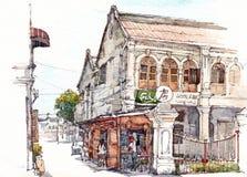 Illustrazione coloniale dell'acquerello della costruzione Immagine Stock