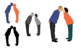 Illustrazione colorata del piano realistico di una coppia baciante Fotografia Stock Libera da Diritti