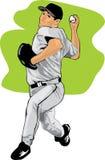 Illustrazione colorata di una brocca di baseball Immagini Stock Libere da Diritti