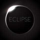Illustrazione completa di vettore di eclissi Eclissi con l'anello del sole nello spazio profondo Eclipce solare completo Fotografia Stock Libera da Diritti