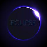 Illustrazione completa di vettore di eclissi Eclissi con l'anello del sole nello spazio profondo Eclipce solare completo Immagini Stock Libere da Diritti