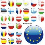 Illustrazione completamente editable di vettore delle bandierine dell'Ue Fotografie Stock
