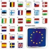 Illustrazione completamente editable di vettore delle bandierine dell'Ue Immagine Stock Libera da Diritti