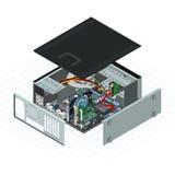 Illustrazione con computer personale isometrica di vettore Immagine Stock
