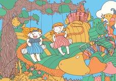Illustrazione con due ragazze adorabili sulle oscillazioni in un fatato illustrazione vettoriale