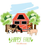 Illustrazione con gli animali dall'azienda agricola Fotografia Stock Libera da Diritti