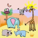 Illustrazione con gli animali del fumetto dell'Africa Immagini Stock Libere da Diritti