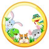 Illustrazione con gli animali domestici sui precedenti bianchi, il serpente, il cincillà, il criceto, la tartaruga ed il coniglio Immagine Stock