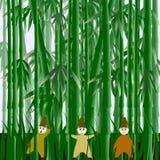 Illustrazione con gli gnomi nel campo di bambù Royalty Illustrazione gratis