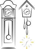 Illustrazione con gli orologi Fotografie Stock