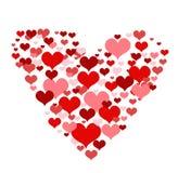 Illustrazione con i cuori rossi di amore Fotografia Stock