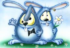 Illustrazione con i cuori svegli di amore e del coniglietto Fotografia Stock Libera da Diritti